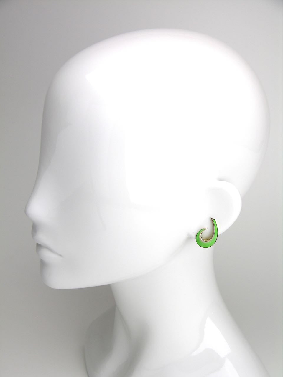 Norwegian Silver and Spearmint Green Enamel Scroll Earrings