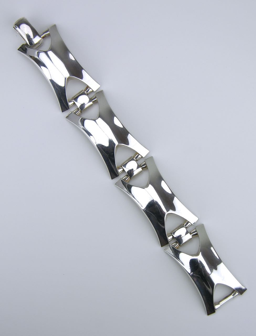German silver rectangular mariners link bracelet