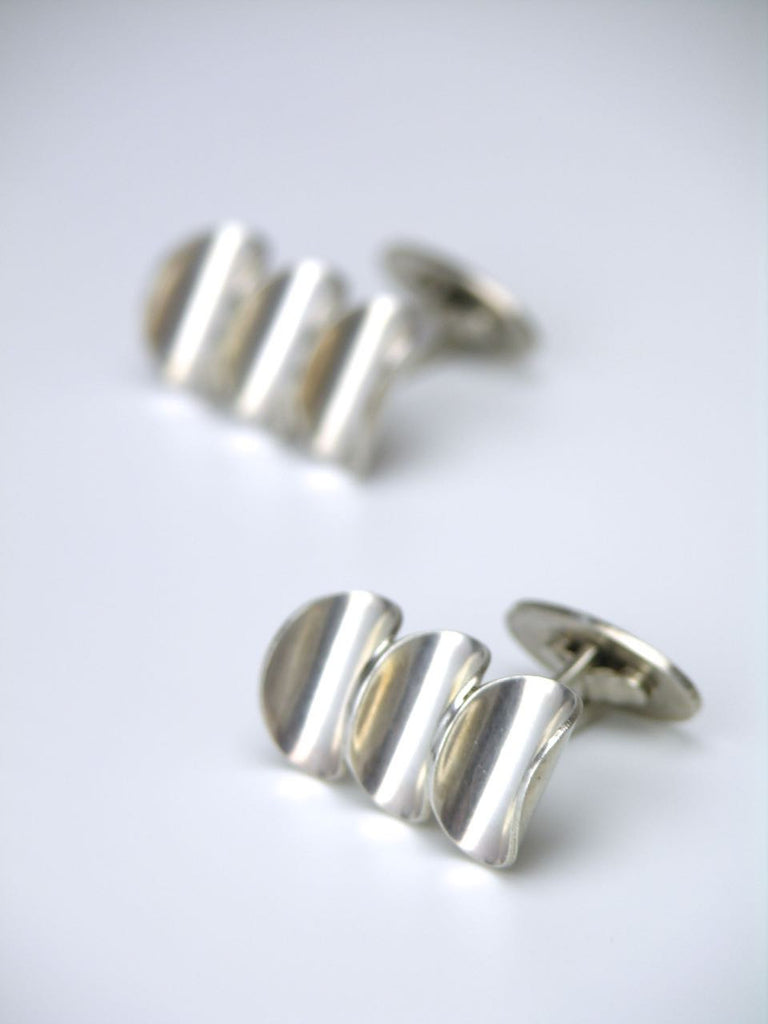 Dragsted solid silver concave disc cufflinks