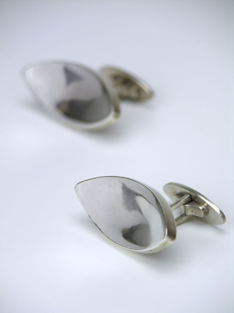 Vintage Dragsted silver concave ellipse cufflinks