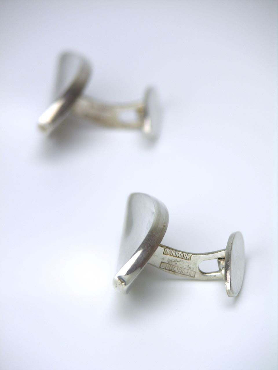 Dragsted silver concave ellipse cufflinks