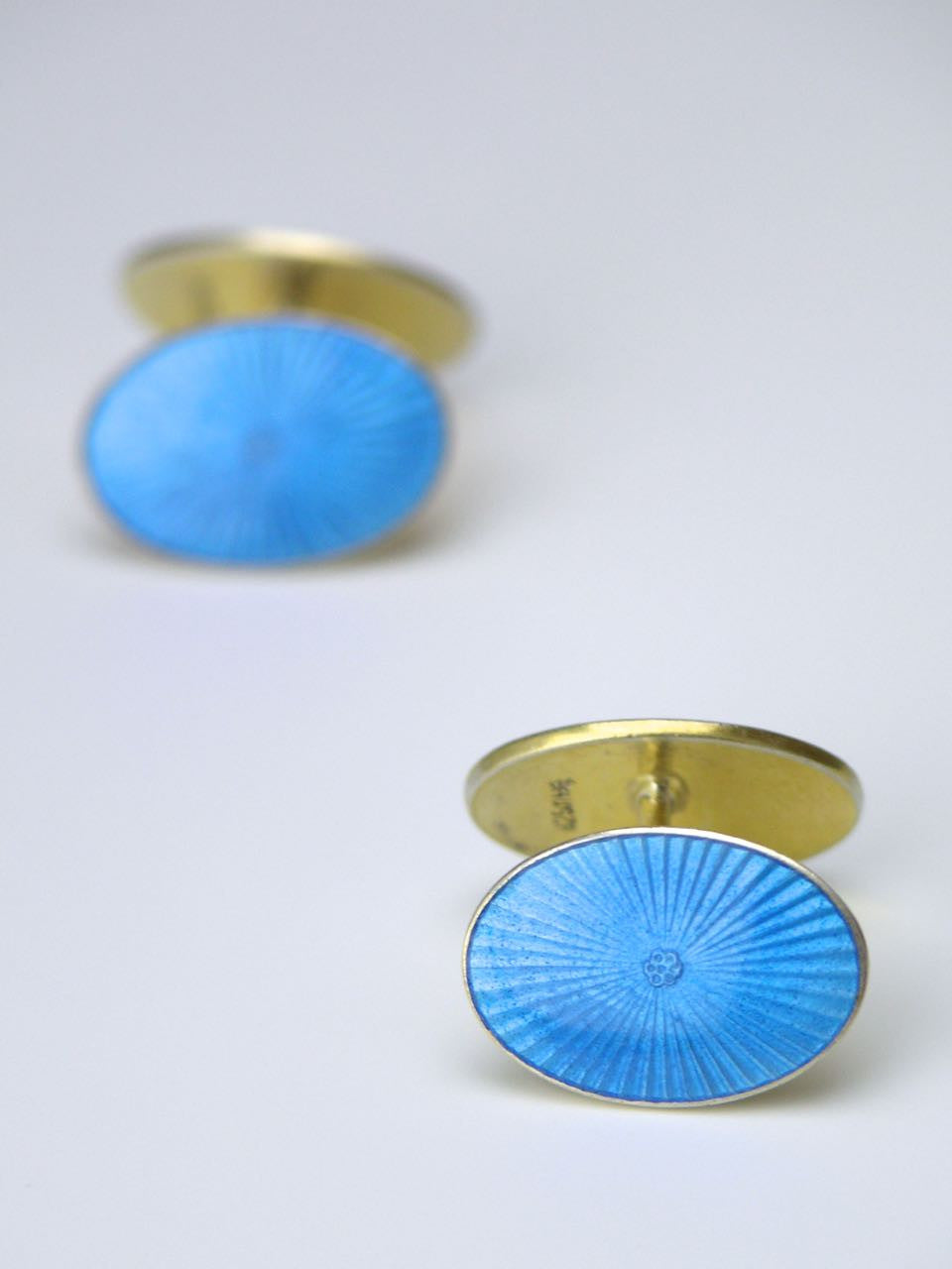 David Andersen silver oval blue enamel cufflinks