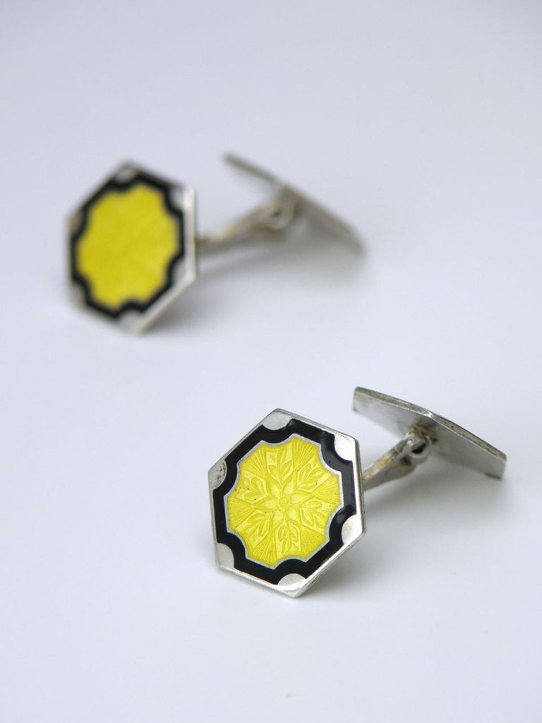 American silver with yellow and black enamel cufflinks