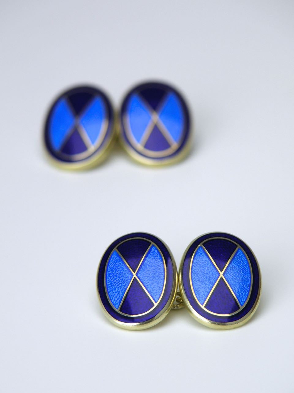 Oval silver bright blue and navy enamel cufflinks