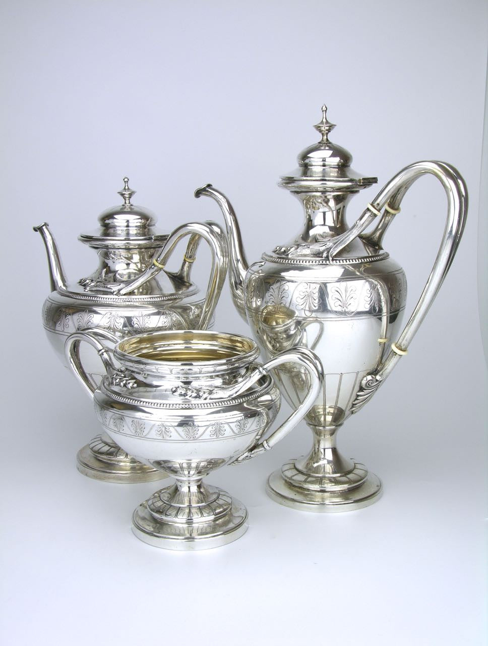 Neoclassical Revival Continental Silver Tea and Coffee Service
