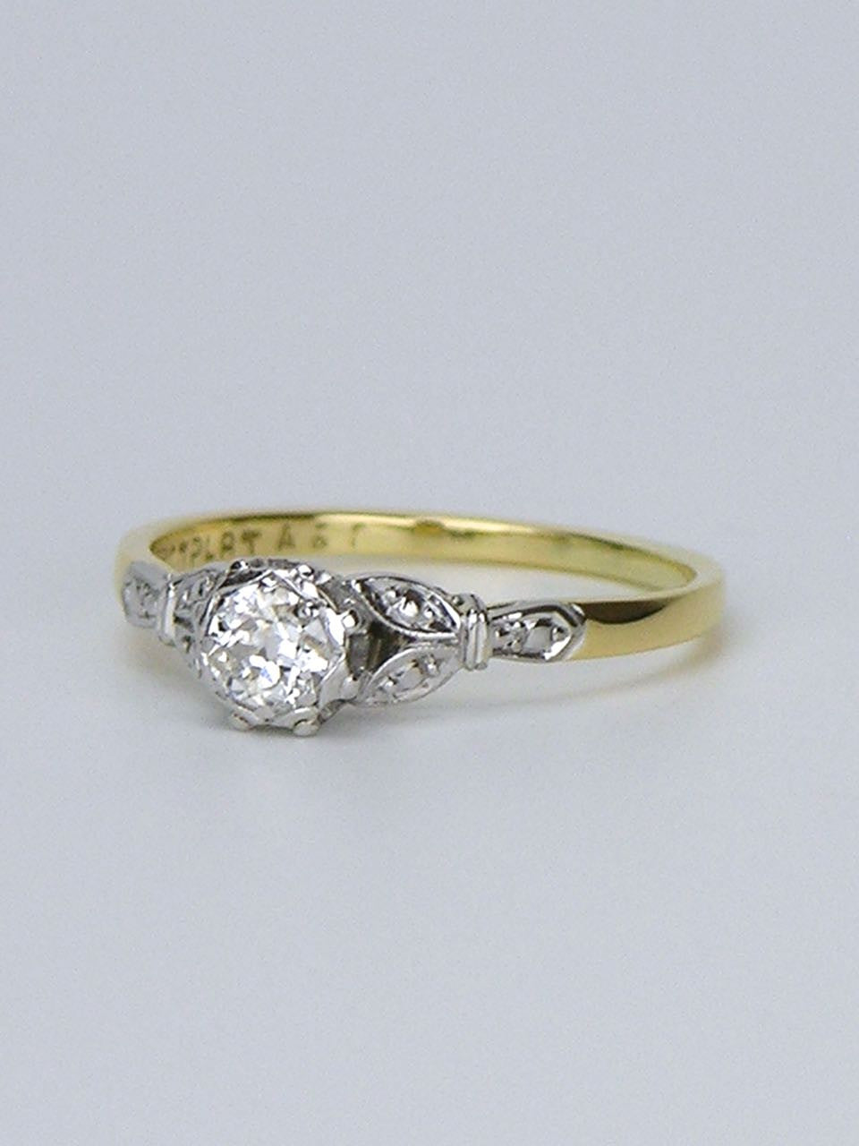 18k white and yellow gold diamond ring - 1950s
