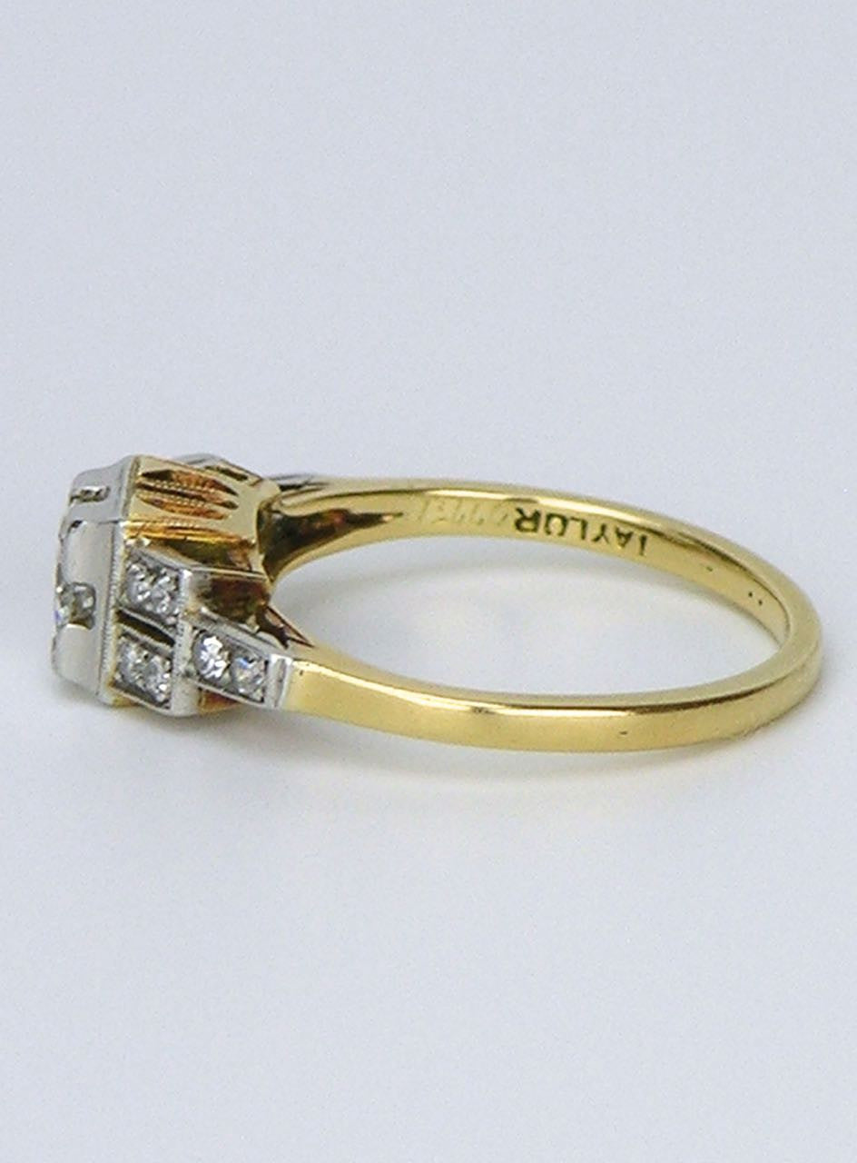 Art Deco platinum and yellow gold diamond ring