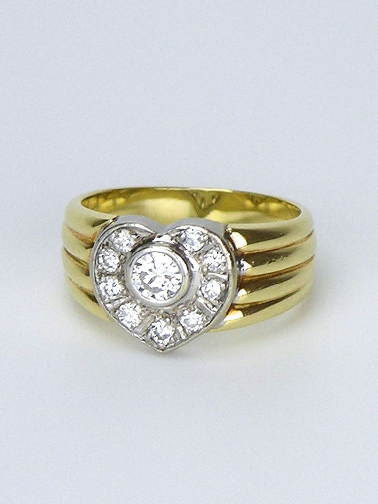 Yellow gold and diamond heart shaped cluster ring