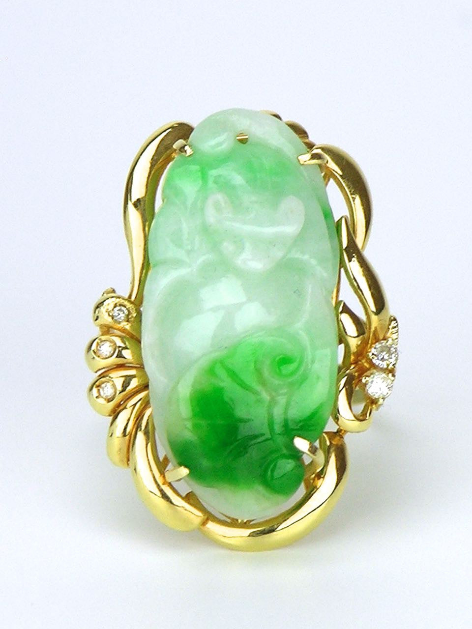 14k Yellow Gold Carved Jade and Diamond Ring