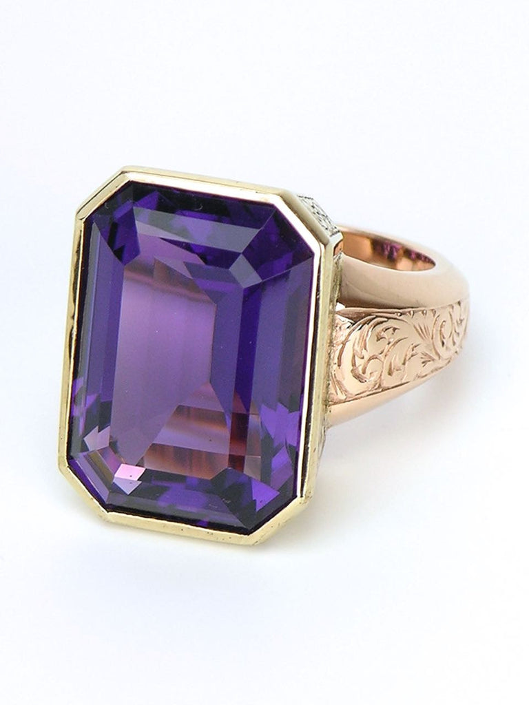 Vintage Amethyst and Gold Cocktail Ring - Love and Hatred