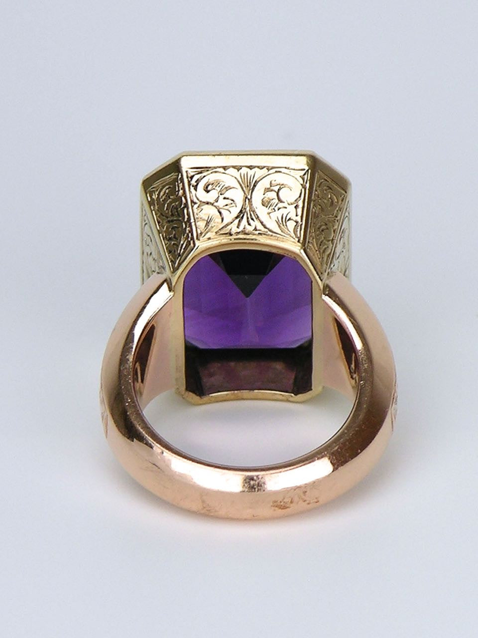 Amethyst and Gold Cocktail Ring - Love and Hatred