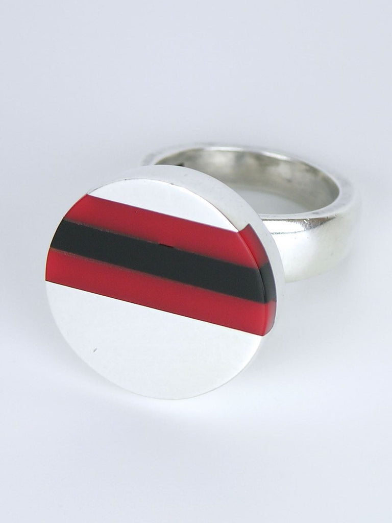 Danish solid silver and lucite stripe ring
