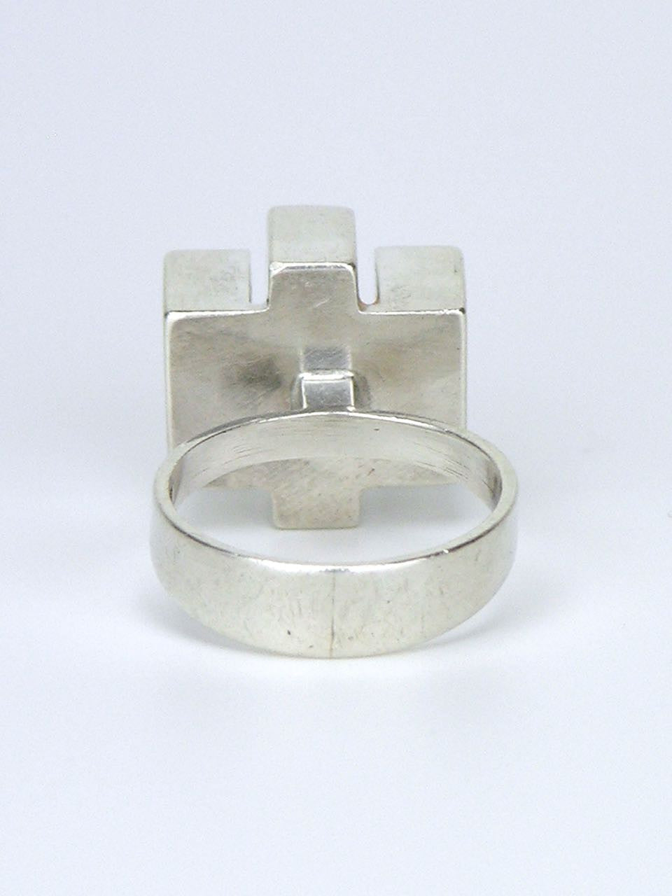 Swedish silver modernist cube ring