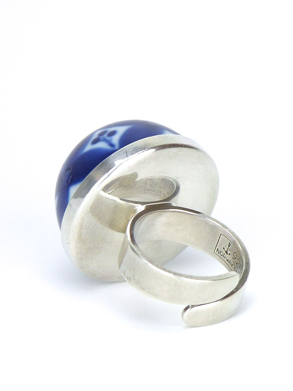Norwegian silver and blue glazed porcelain dome ring