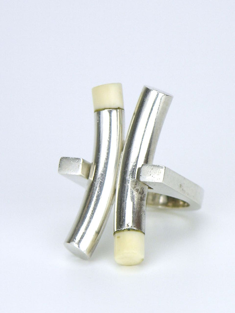 "Solid silver and ivory ""X"" ring"