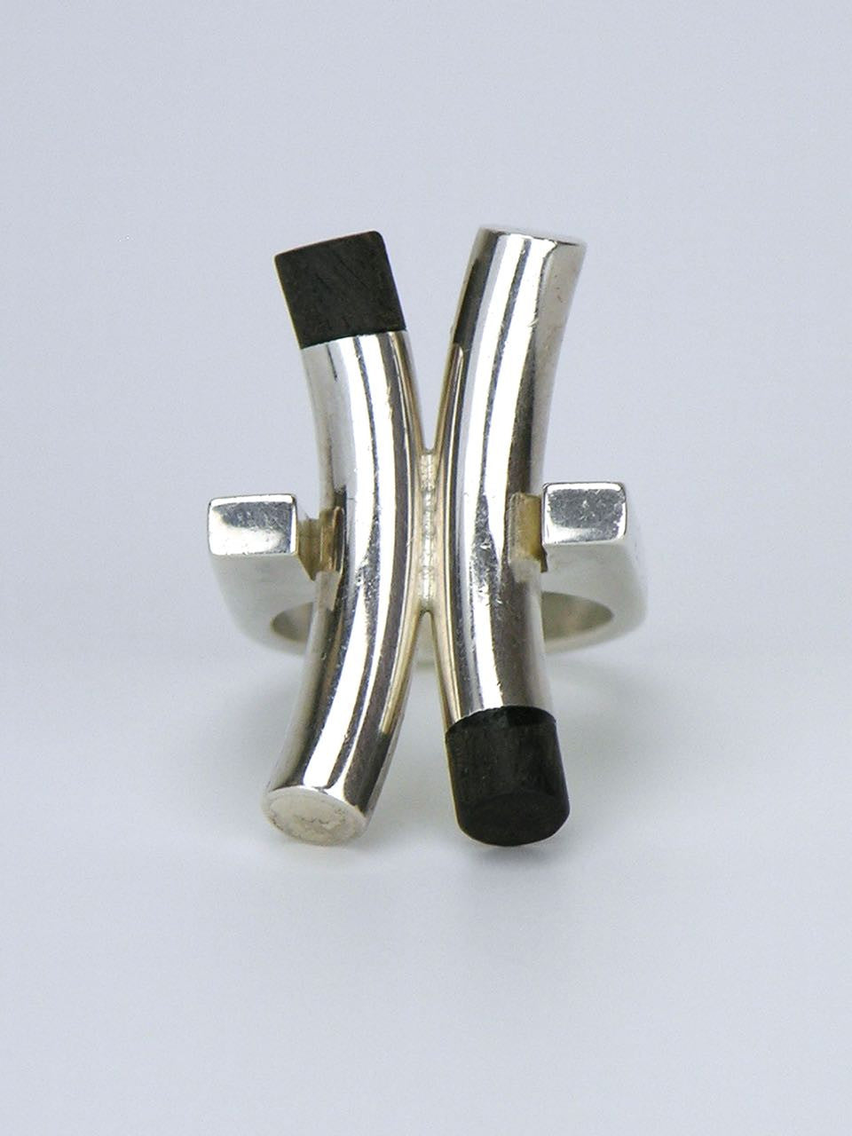 "Solid silver and ebony ""X"" ring"