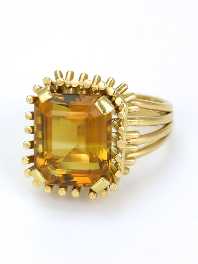 Retro 14k yellow gold citrine basket ring 1960s
