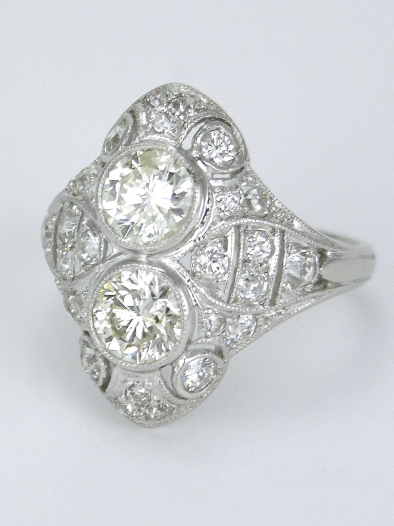 Antique Art Deco Diamond and Platinum Two Stone Ring 1930s