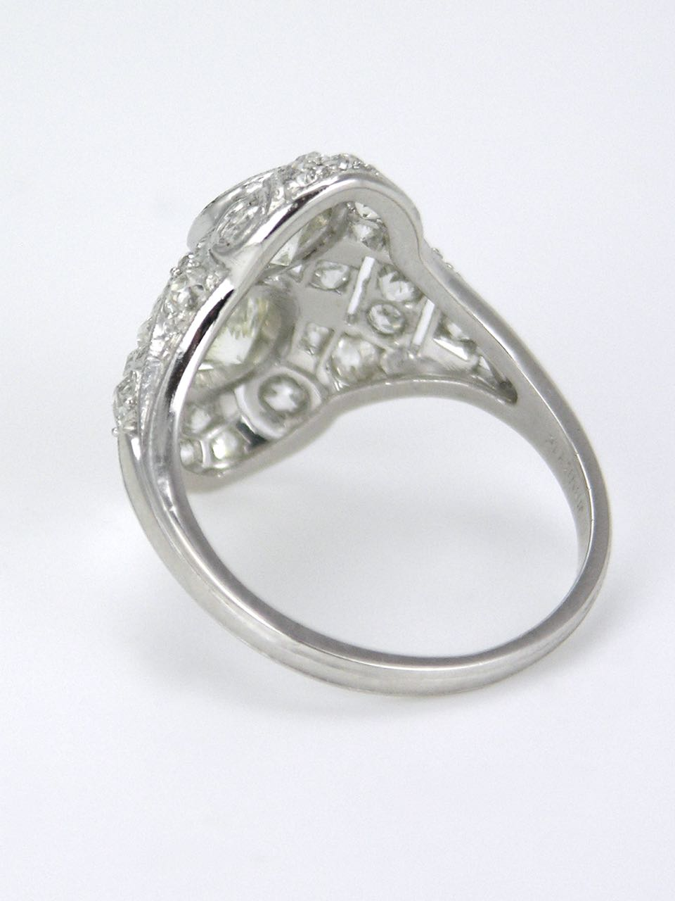 Art Deco diamond and platinum two stone ring