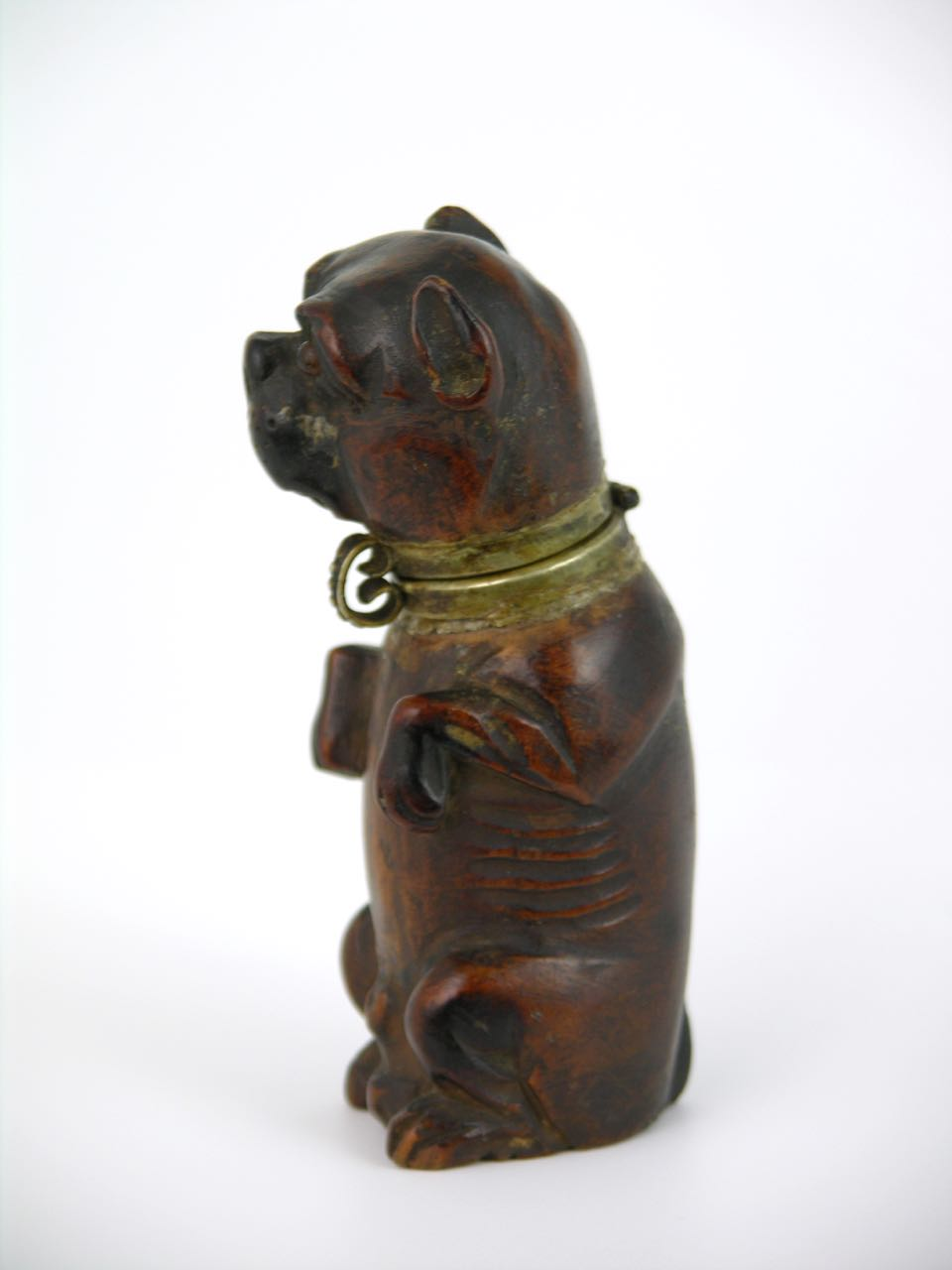 Antique Georgian carved wood dog form match safe