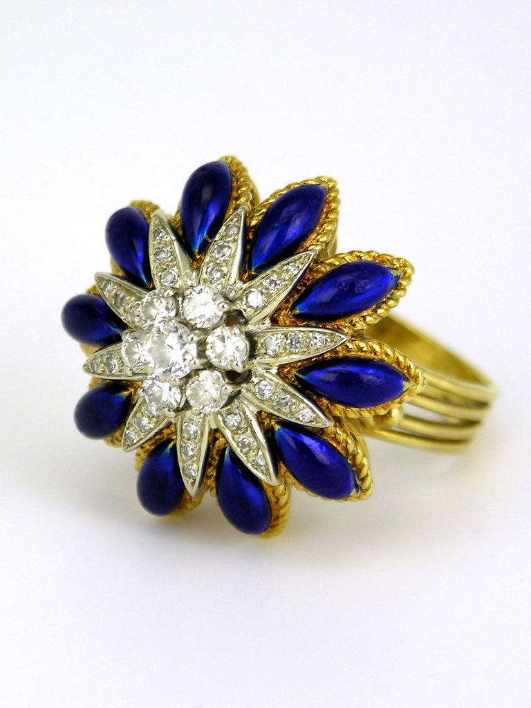 Vintage Italian 18k Yellow Gold Diamond and Blue Enamel Flower Starburst Ring 1960s