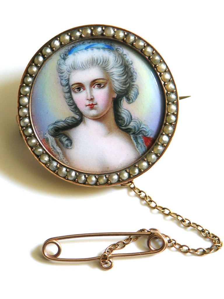 Antique 9k Rose Gold Enamel and Seed Pearl Portrait Miniature Brooch