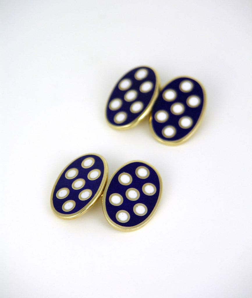 Sterling oval navy and white enamel double fronted cufflinks