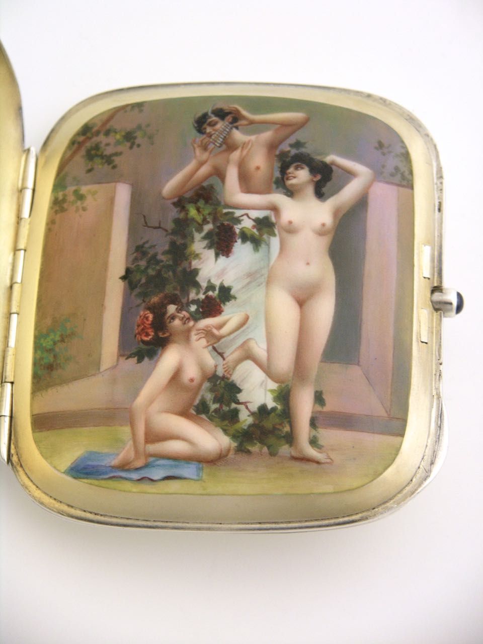 "Antique Sterling silver and enamel erotic case ""Nymphs and Pan"""