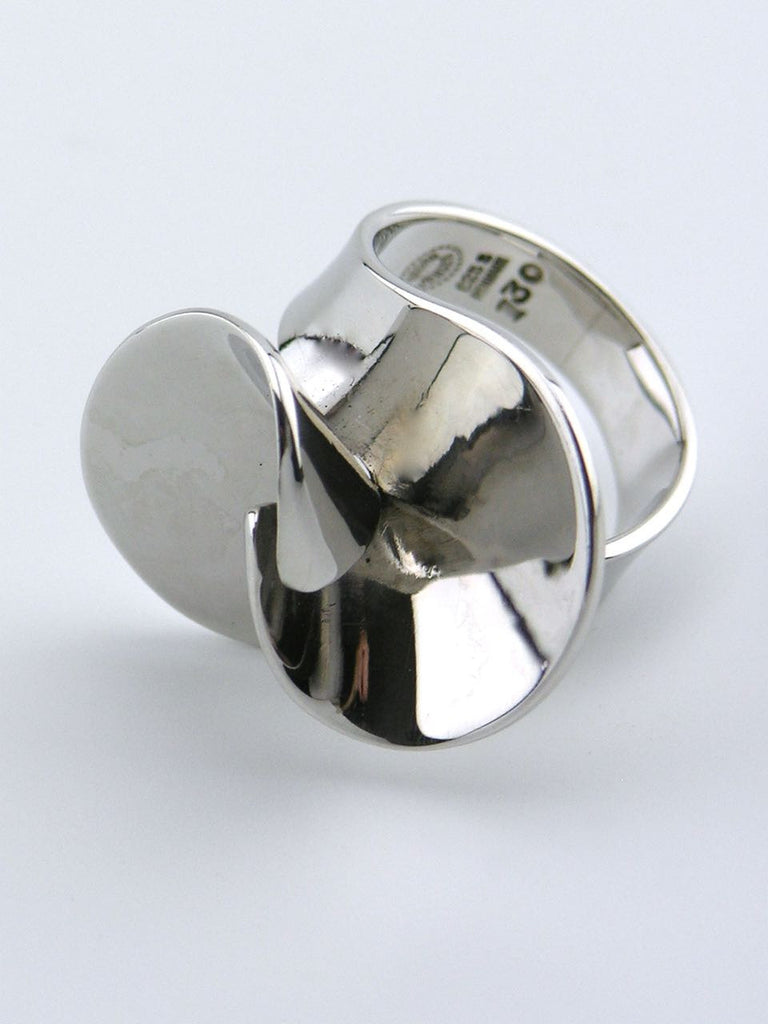 Georg Jensen silver interlocking double curve ring - design 130