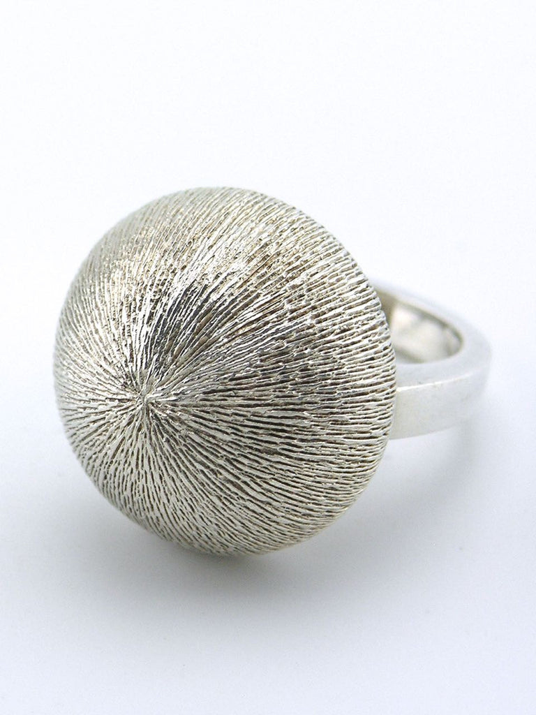 Danish solid silver Florentine textured dome ring