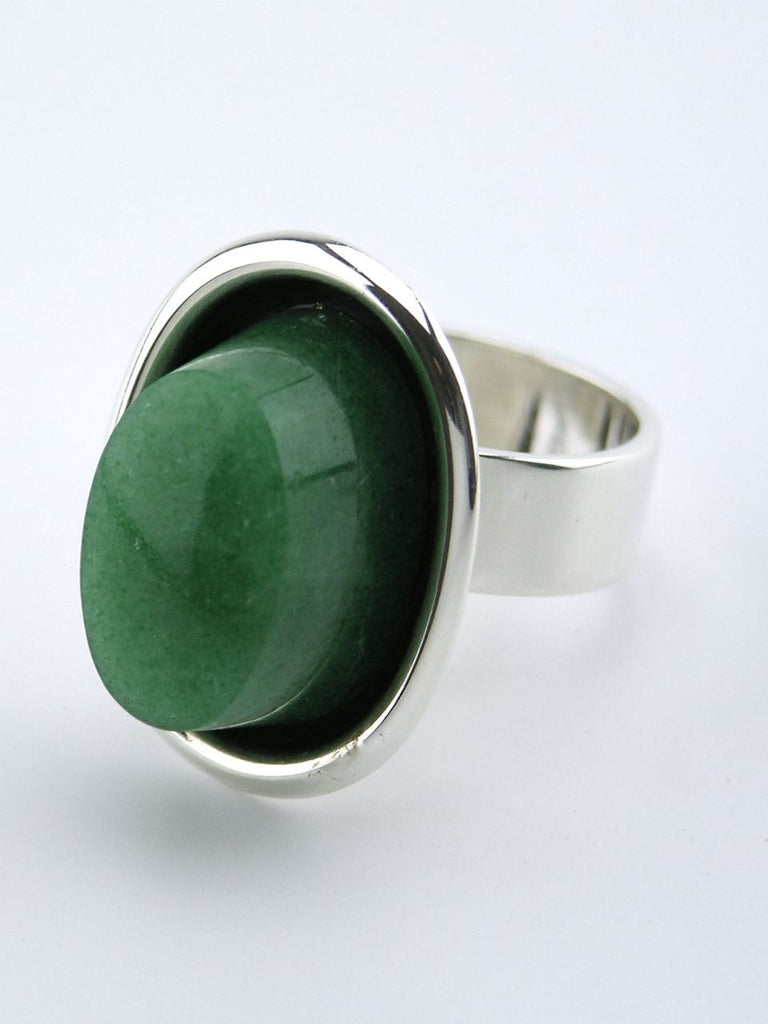 Hans Hansen silver and oval green adventurine ring