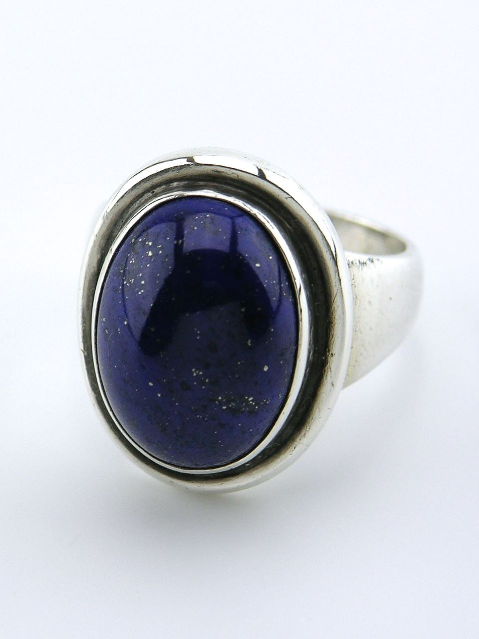 Georg Jensen silver and oval lapis lazuli ring - design 46A