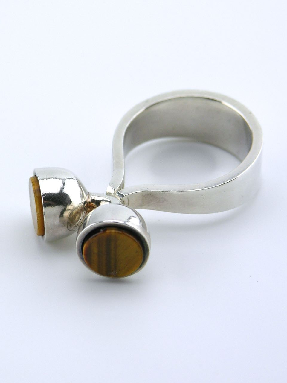 Vintage Arne Johansen Silver and Tiger's Eye Modernist Dot Ring