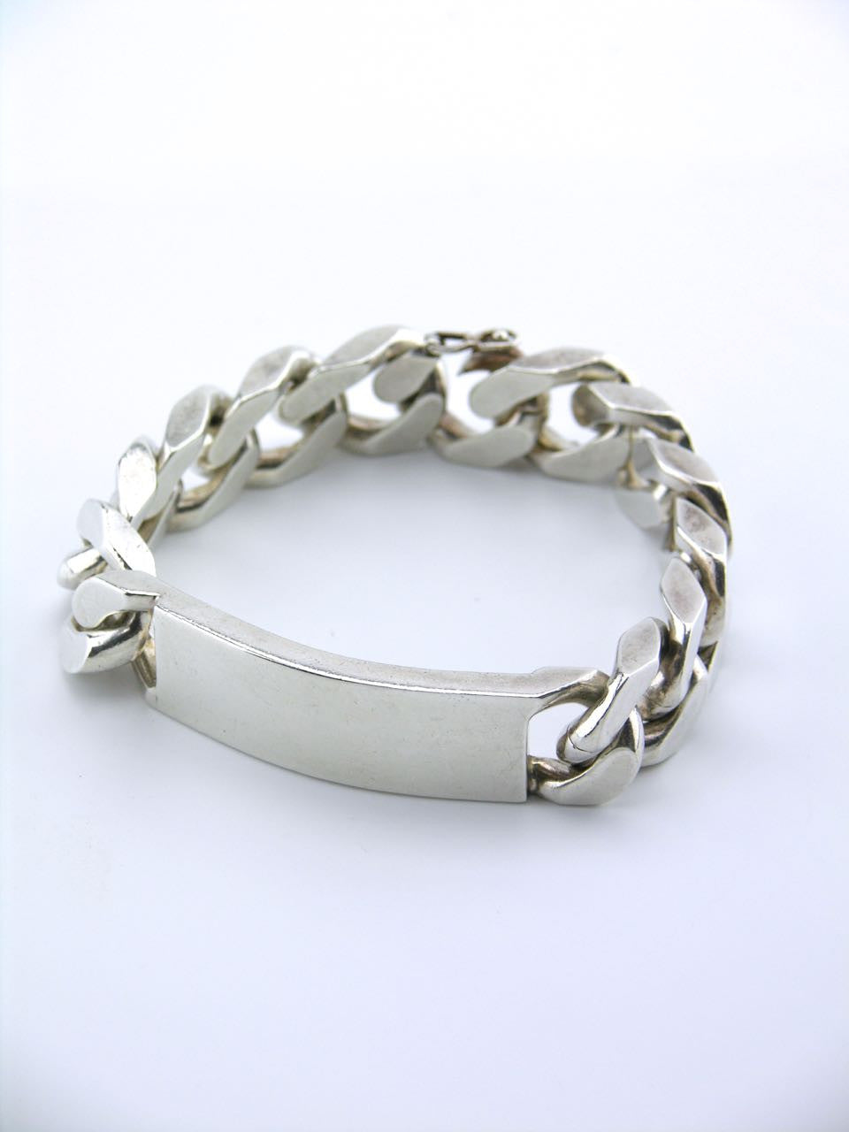 French Solid Silver Heavy ID Bracelet