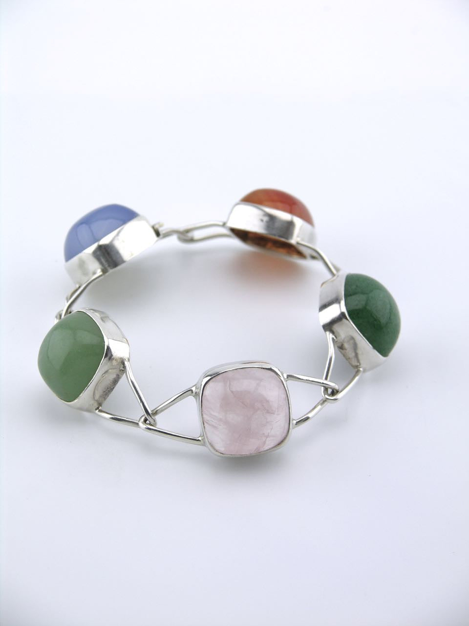 Swedish modernist silver and cabachon pebble bracelet