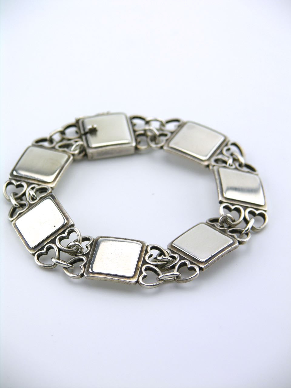 Georg Jensen silver hearts and squares bracelet - design 70