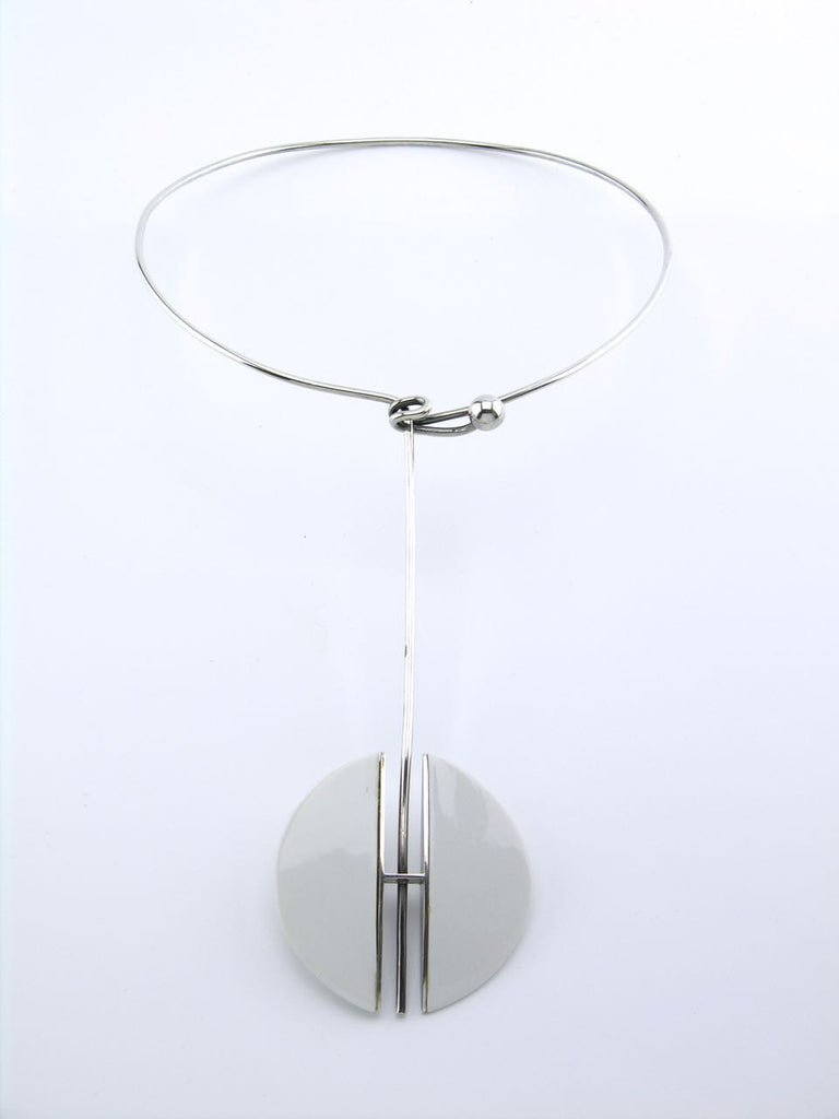 Anton Michelsen modernist solid silver and white porcelain disc neckring