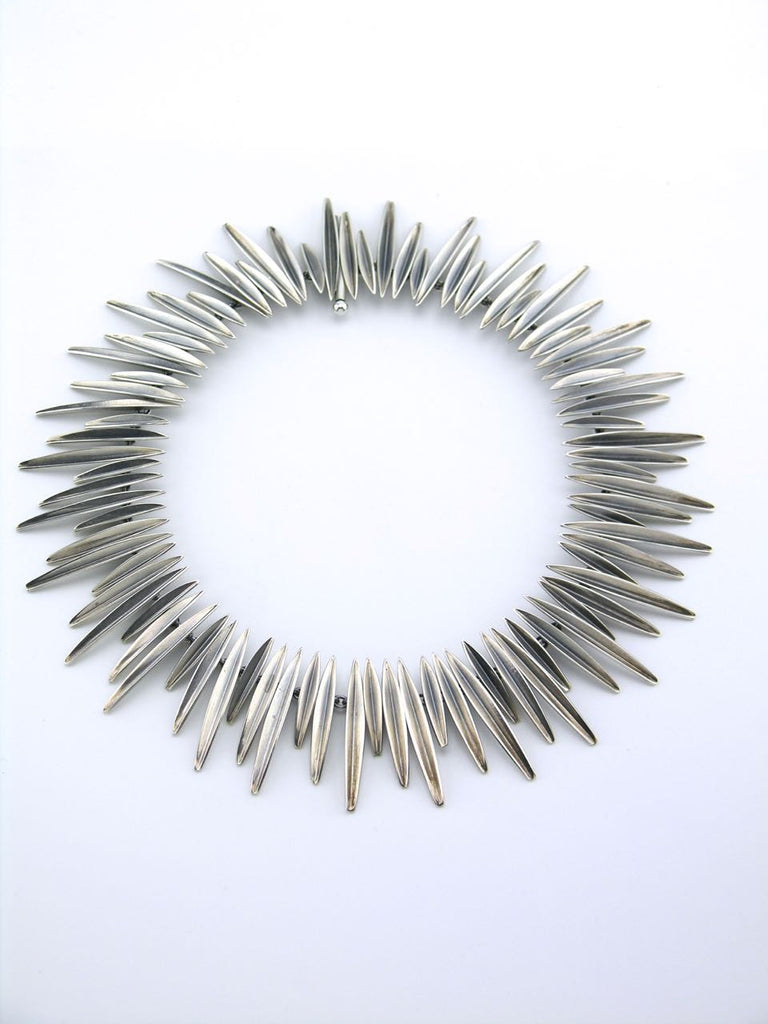 "Anton Michelsen silver modernist ""Grass"" motif necklace"