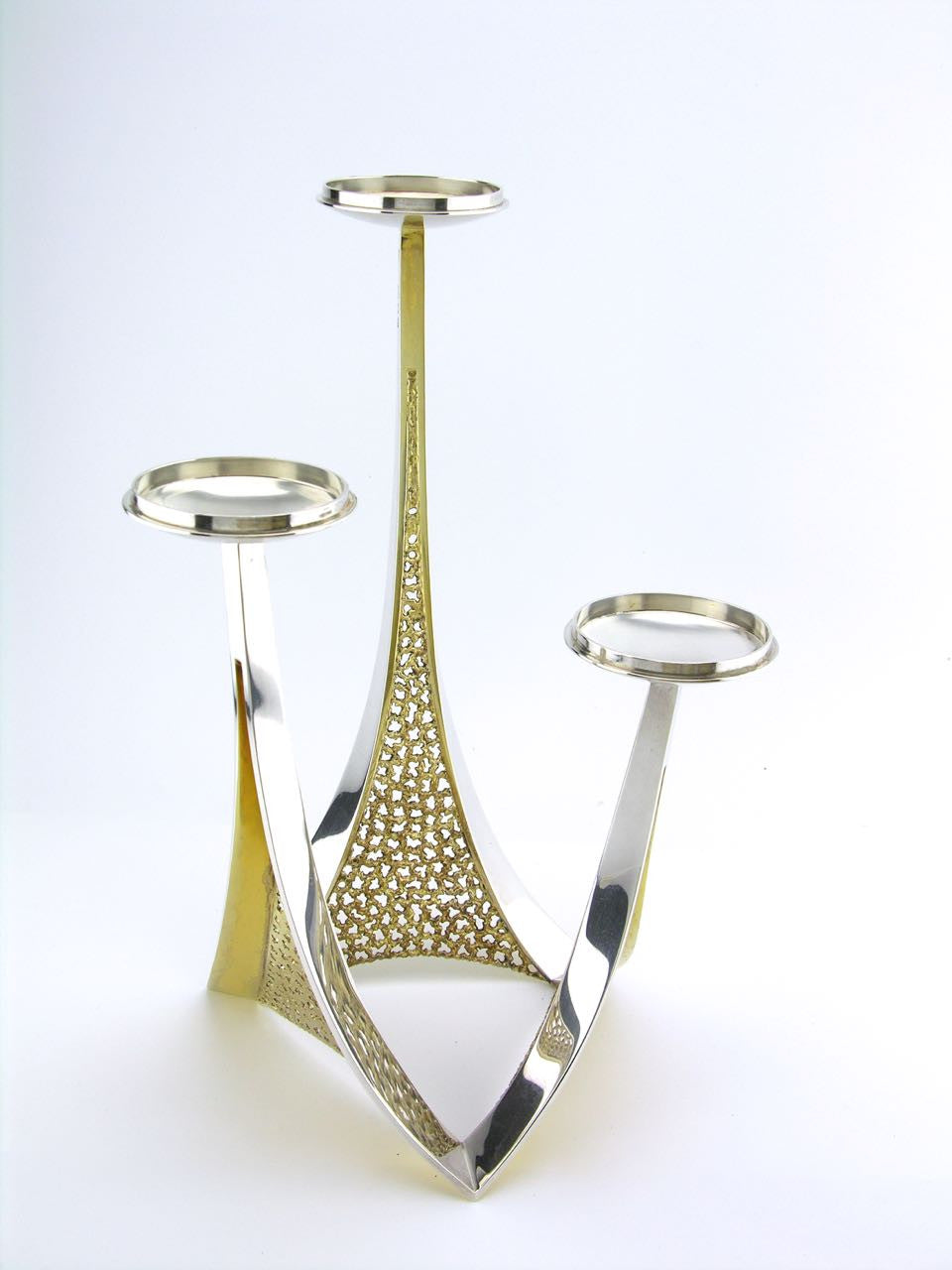 Stuart Devlin solid silver and silver gilt three light candelabra