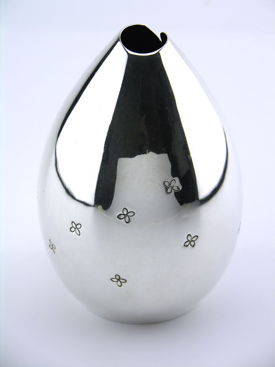 E Dragsted solid silver drop shape vase