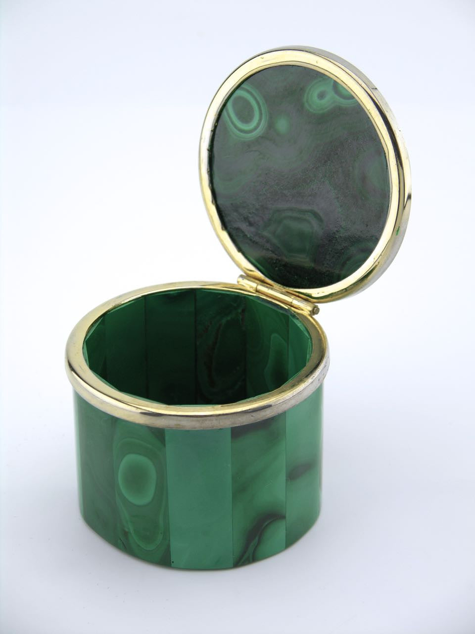 Malachite round hinged table box