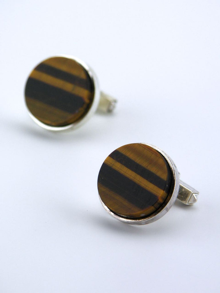 German pair of solid silver and tigers eye round cufflinks