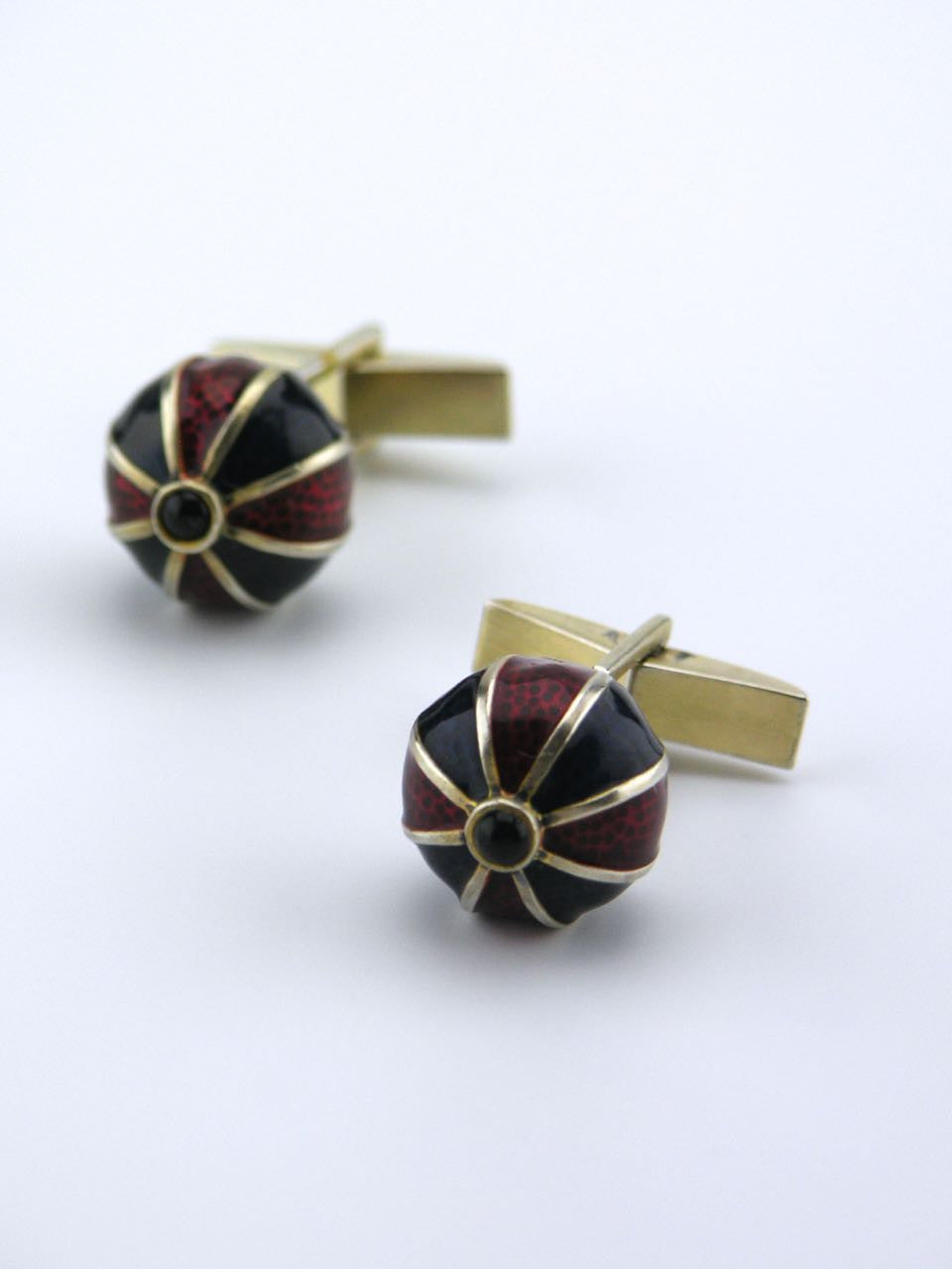 American solid silver red and blue enamel gilt ball cufflinks