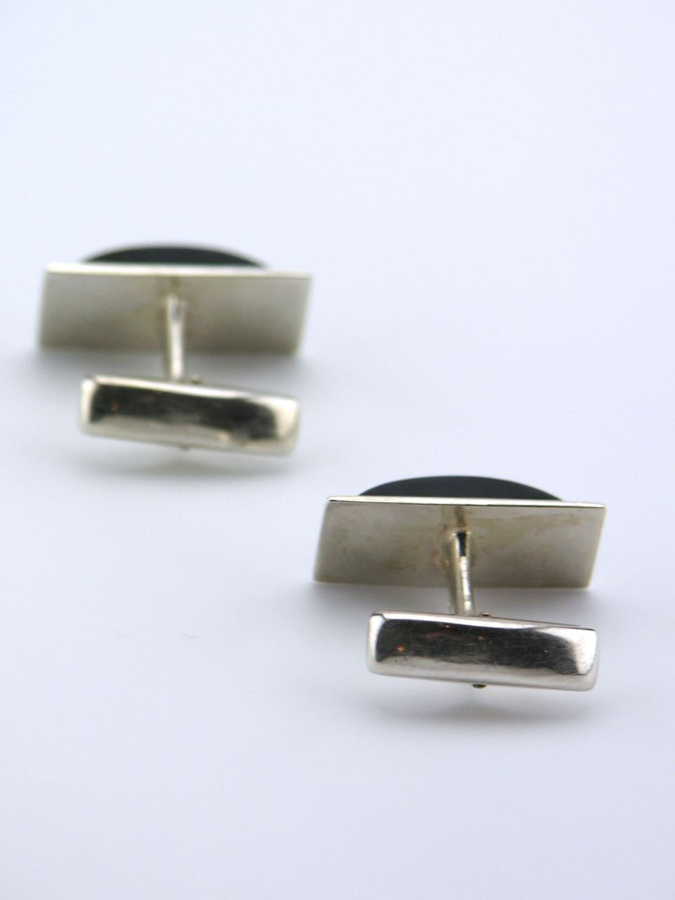 Finnish solid silver rectangular black tigers eye cufflinks