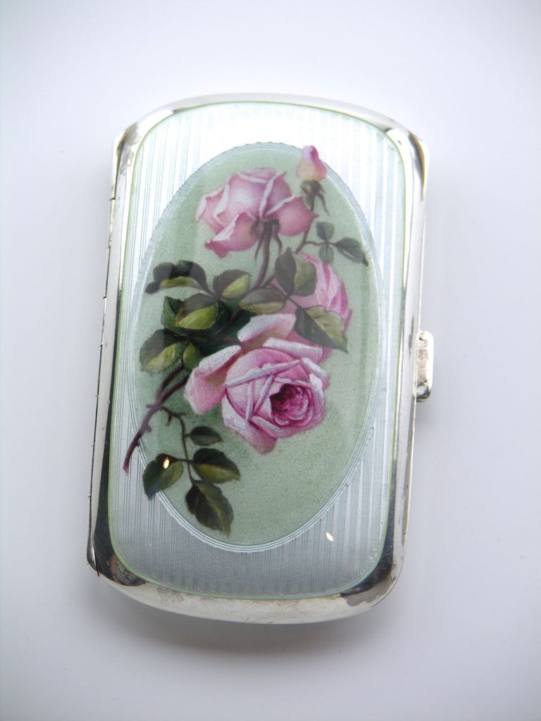 Swiss solid silver and enamel roses case