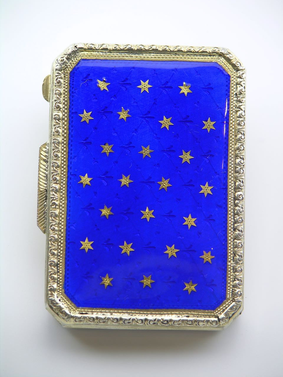 Italian silver gilt and enamel rectangular table box