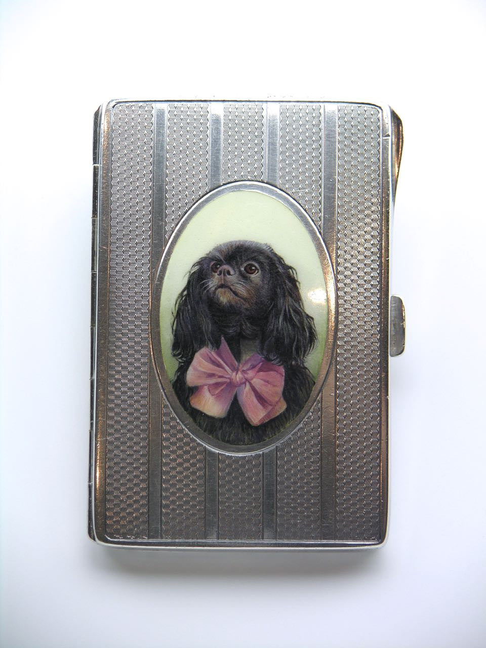 Antique Austrian Solid Silver and Enamel Portrait of a Dog Case