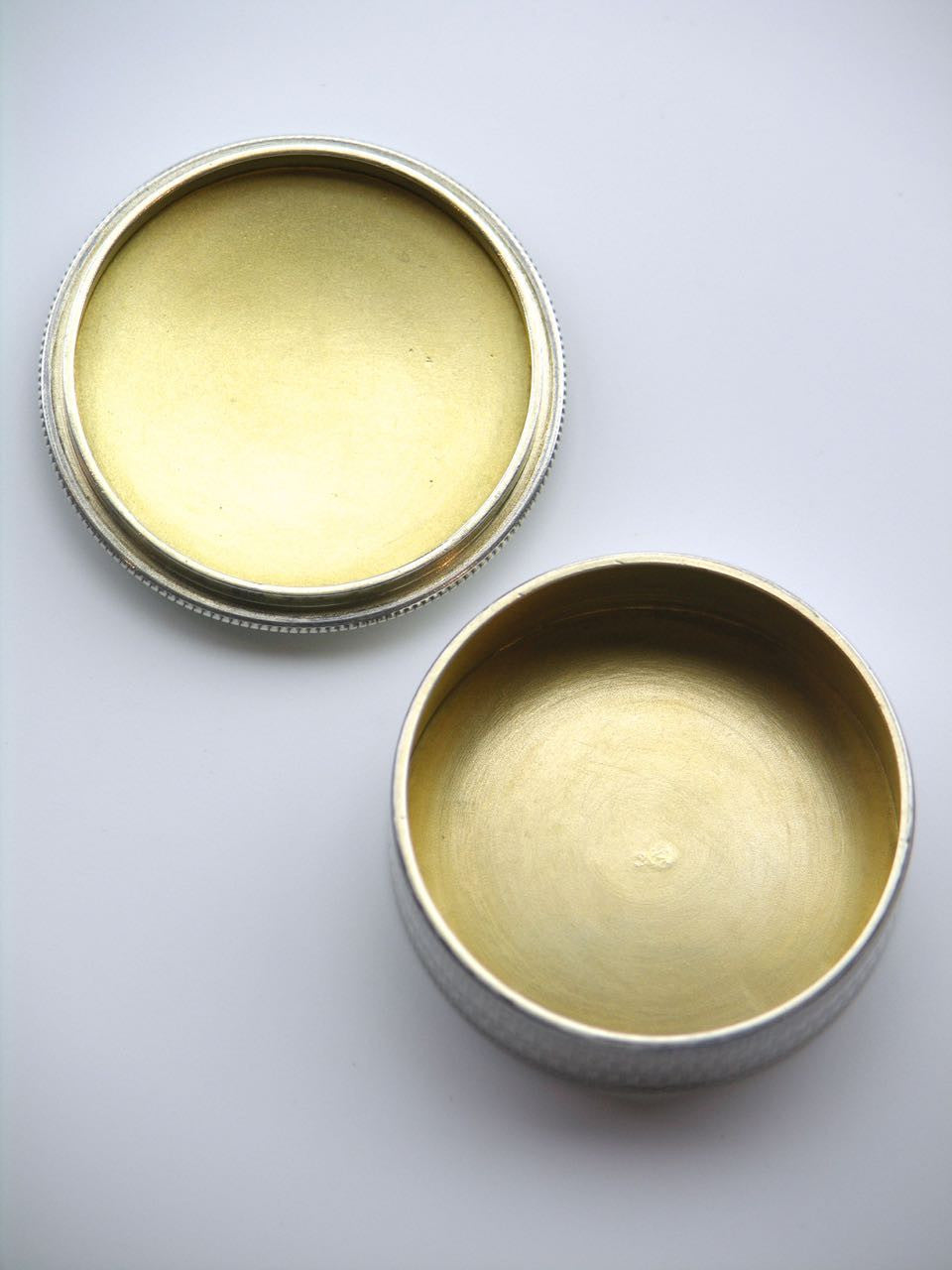 Swedish solid silver and enamel round box