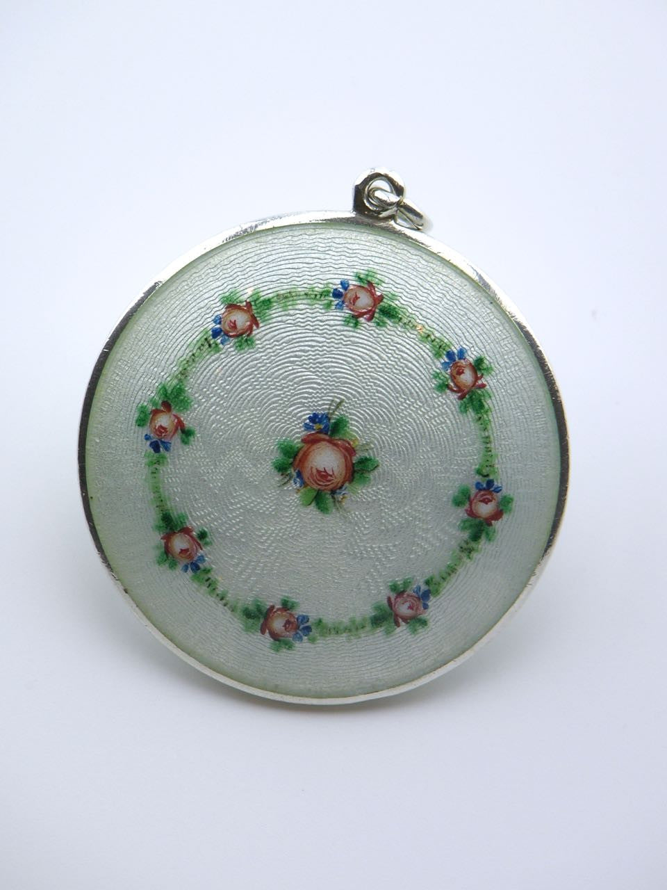 Austrian solid silver pale green enamel case decorated with roses