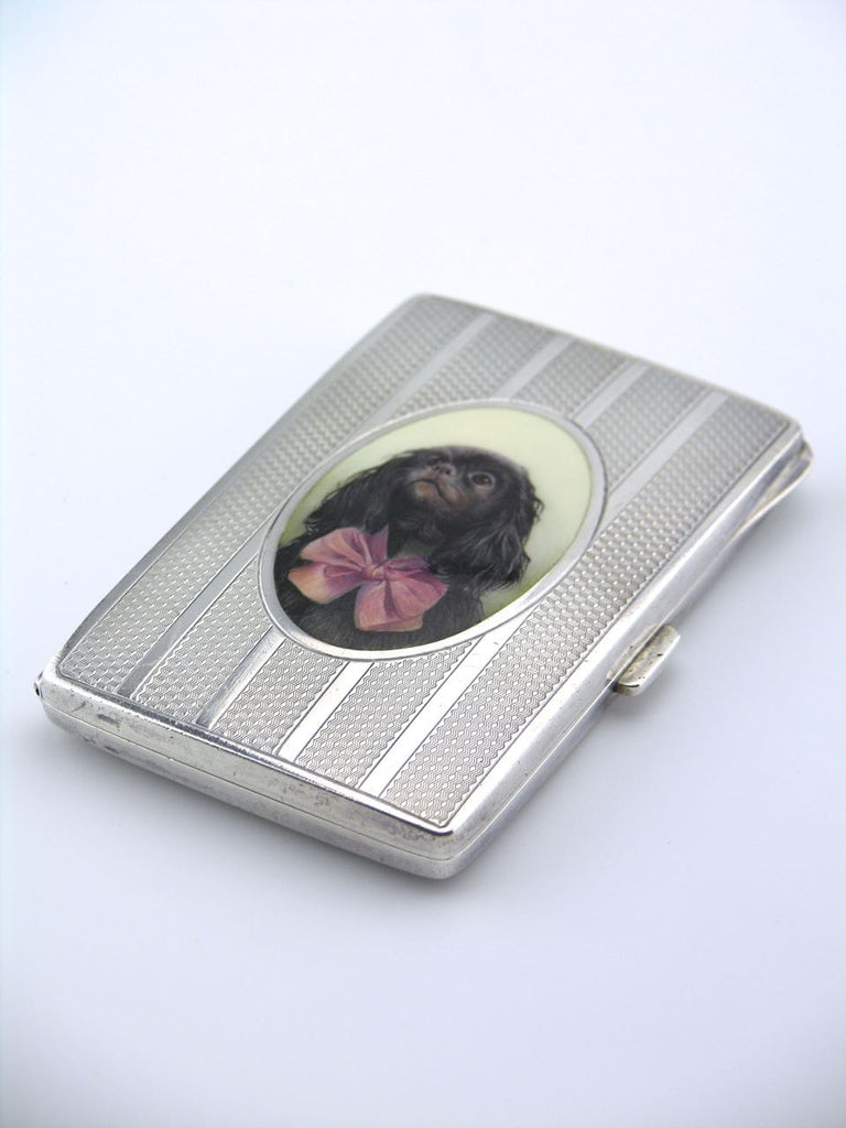 Austrian solid silver and enamel portrait of a dog case